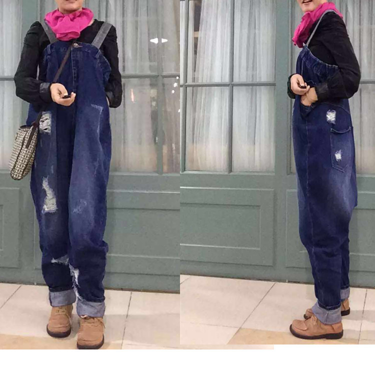 2016 Spring jeans bib overalls pants big crotch pants