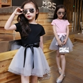 2016 Brand Summer Girls Clothing Sets Bow Baby Girl Clothes Short Sleeve T-shirt + Tutu Skirt Suit 2 Pcs Children Clothing Sets