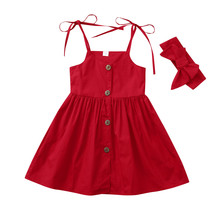 Kids Baby Girls Dress Headbands Clothes 1-4Y
