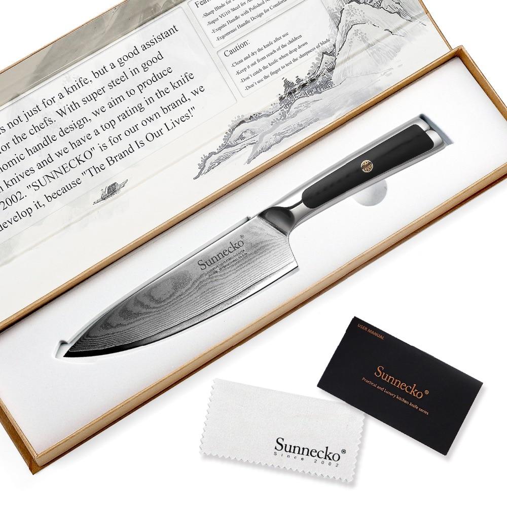 """SUNNECKO 6,5 """"Damaskus Stahl Kochmesser Japanischen VG10 Core Razor Sharp Küche Messer G10 Griff Chef Fleisch schneiden Cut-in Küchenmesser aus Heim und Garten bei  Gruppe 1"""