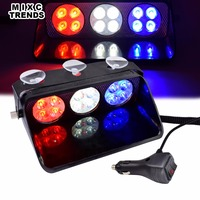12 LED Car Police Strobe Flash Light 12V Dash Windshield Auto Emergency Warning 10 Flashing Fog Lights With Power off Memory