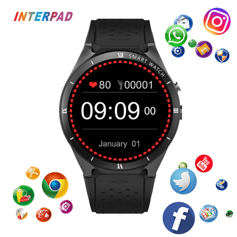 Interpad KW88 PRO 3G GPS WIFI Smart Watch MTK6580 With Camera 1GB RAM 16GB ROM Support SIM Card Google Weather For Xiaomi Huawei цена