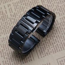 Preto pulseiras moda de 18 mm 20 mm 22 mm 24 mm polido pulseiras marca de luxo relógios homens promoção