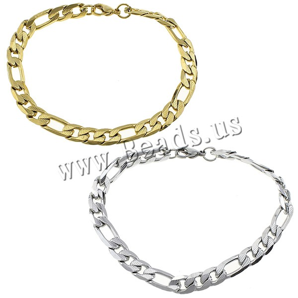 Women Men Chain Bracelet Gold Color Figaro Chain Stainless Steel Bangle Jewelry Accessories Friendship Wristbands