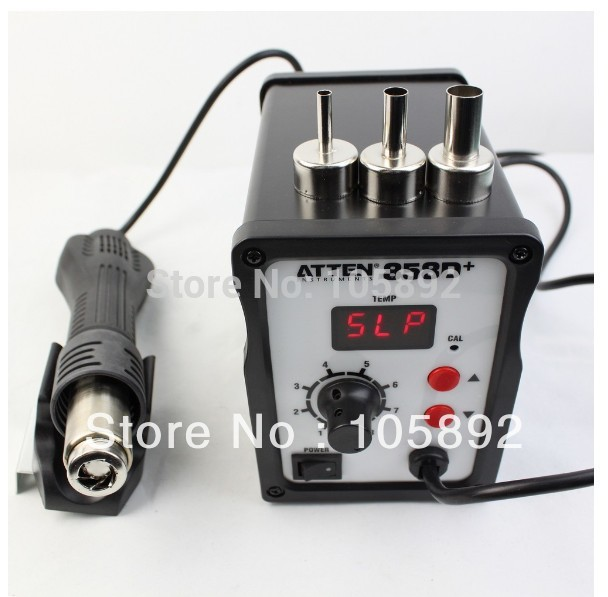 ATTEN AT 858D+ SMD 220V Hot Air Rework Station Hot Blower Hot Air Gun Heat Gun BGA Rework Station +3 FREE nozzles  atten 2in1 at8502d lead free soldering station smd rework station hot air gun
