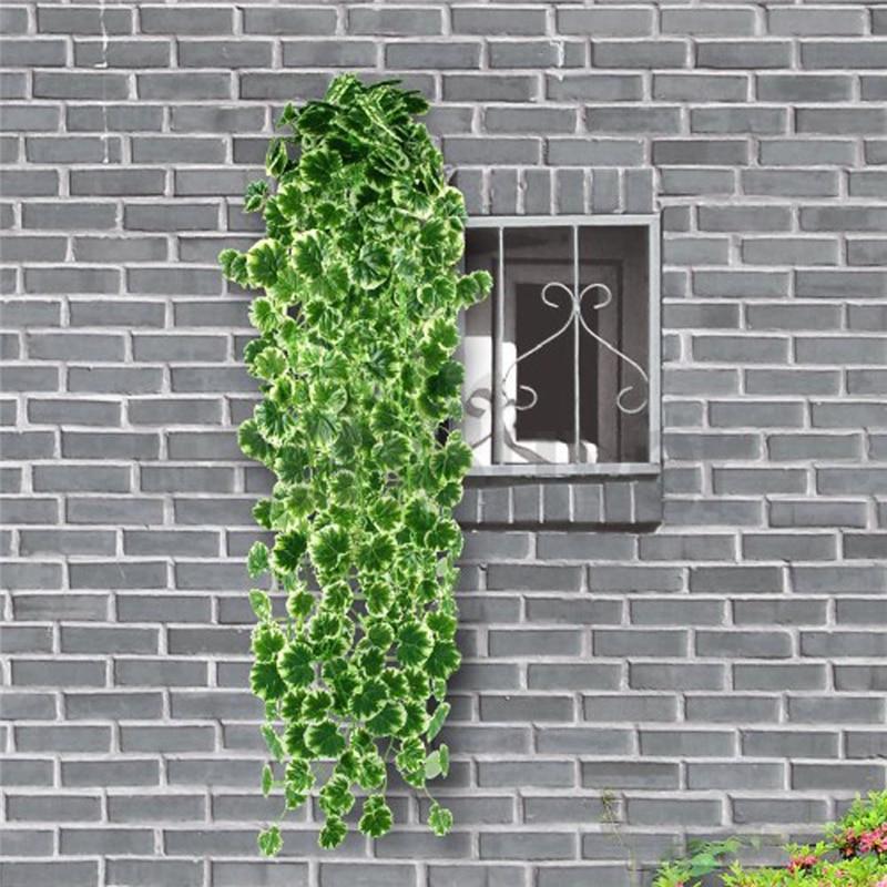 1 kpl 90CM Keinotekoinen Garland Begonia Lehdet Viiniköynnös Valkoinen reuna Ivy Lehtikasvit Viini Fake Lehdet Kukat Koti Häät sisustus