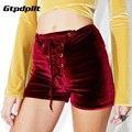 Gtpdpllt Sexy Pantalones Cortos Mujeres 2017 Nueva Moda de Cintura Alta de Encaje de Terciopelo corto Otoño Invierno Mini Flaco Shorts Negro Rojo Más El Tamaño
