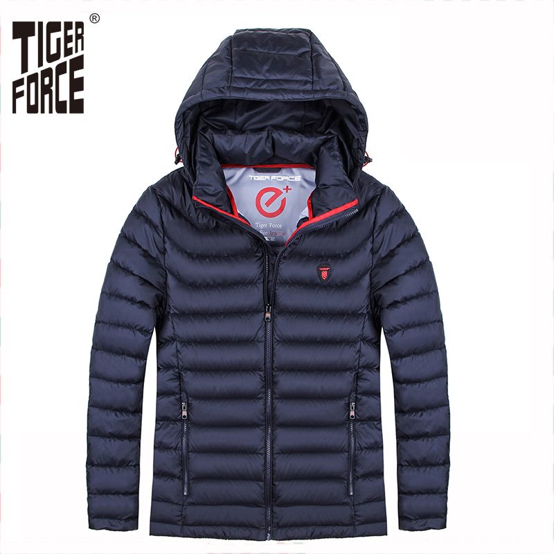 TIGER FORCE Brand Men Winter Jackets Padded Coat Bio-based Cotton Jacket Ultra Light Puffy Coats Men's Silm Parka Outwear