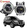 Cawanerl автомобильные аксессуары 4000лм светодиодный противотуманный фонарь Angel Eye дневная ходовая лампа DRL 12 В для Mitsubishi Pajero 4/IV 2007-2015