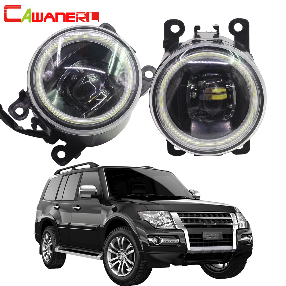 Cawanerl Car Accessories 4000LM LED Bulb Fog Light Angel Eye Daytime Running Lamp DRL 12V For Mitsubishi Pajero 4/IV 2007-2015 cawanerl for mitsubishi pajero iv v8