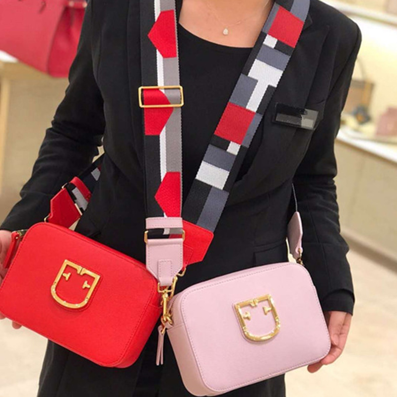 famous luxury brand genuine leather geometric handbag large capacity wide Shoulder Crossbody Candy color Bags Stylish