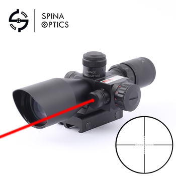 SPIANS OPTICS Tactical Riflescope 2.5-10x40 E Optics Red Laser Holographic   Shooting Hunting Scope 11/20mm Rail Mount