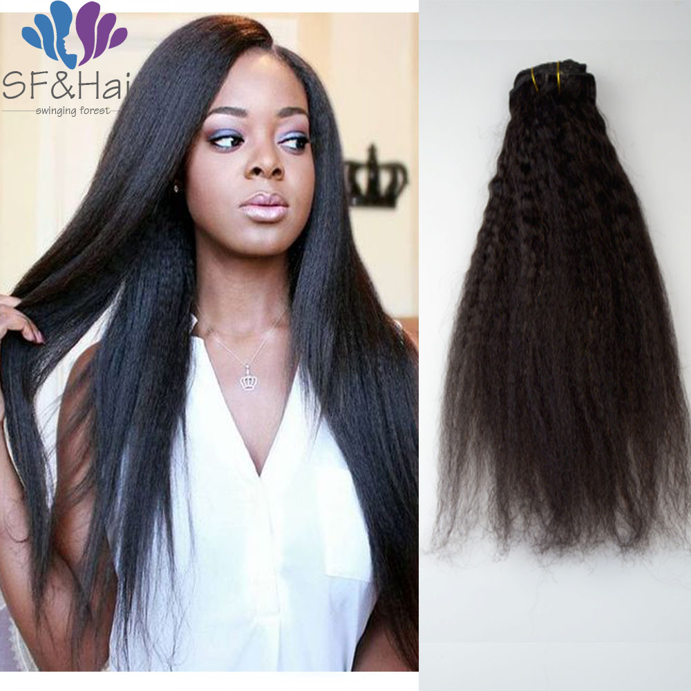 8A Brazilian Clip In Human Hair Extensions 120g Kinky Straight Ins For African American 100 On Aliexpress