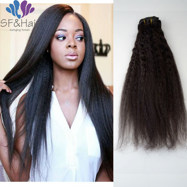 8a Brazilian Clip In Human Hair Extensions 120g Kinky Straight Clip