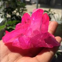 Редкие красивый яркий розовый пламени halo кристалл кварца кластера образца