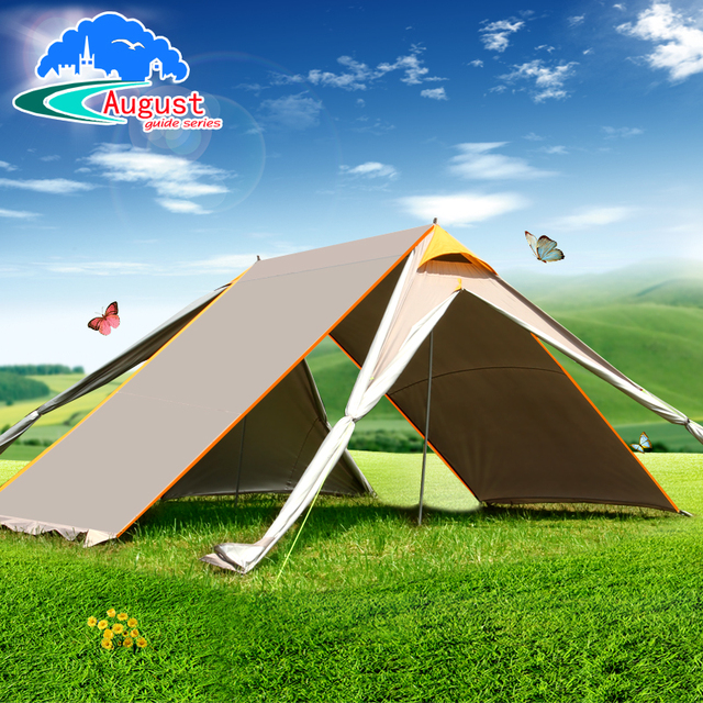 AUGUST 7*5.5m outdoor large space awning tent, curtain, waterproof, anti drying camp, camping account, kitchen tent many doors