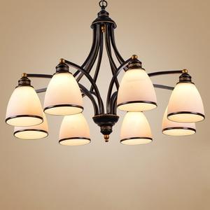 Image 1 - 3 lumières Bronze frotté à lhuile, Style européen Vintage, 6 lumières, 8 lumières, luminaire dintérieur, verre, luminaire dintérieur