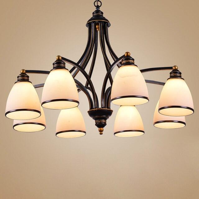3 lumières Bronze frotté à lhuile, Style européen Vintage, 6 lumières, 8 lumières, luminaire dintérieur, verre, luminaire dintérieur