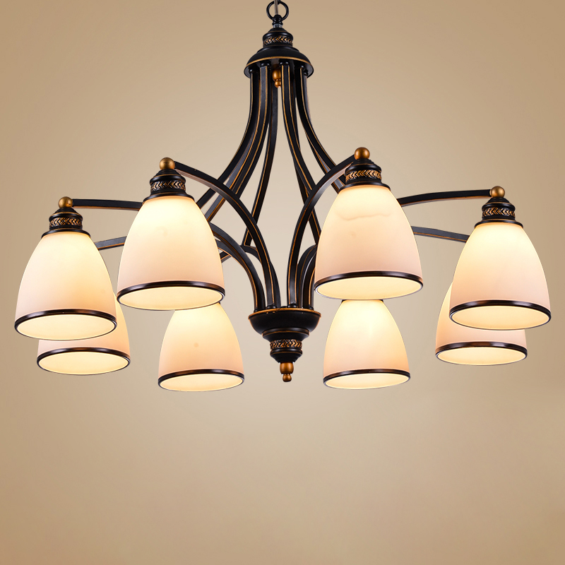Vintage loft European Style Oil Rubbed Bronze 3 Light 5 light 6 light 8 light Chandelier Glass Shades Metal Lamp