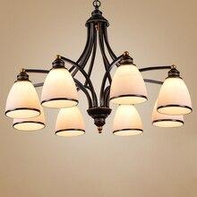 Vintage loft Europese Stijl Olie Gewreven Brons 3 Light 5 light 6 licht 8 kroonluchter Glas Shades Metalen Lamp
