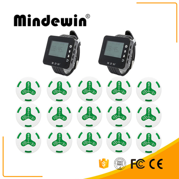 Mindewin 2017 Fashion Wrist Watch Pager 2pcs Watch + 15pcs Service Waterproof Call Button Wireless Call System For Resta