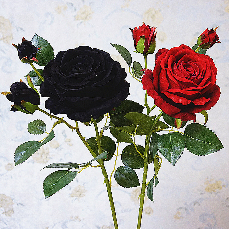 Luxury Black Rose Branch Velvet Simulation Artificial Flowers Valentine Gift Wedding Flowers Home Decoration Roses Flores Special Promo 9a144 Cicig