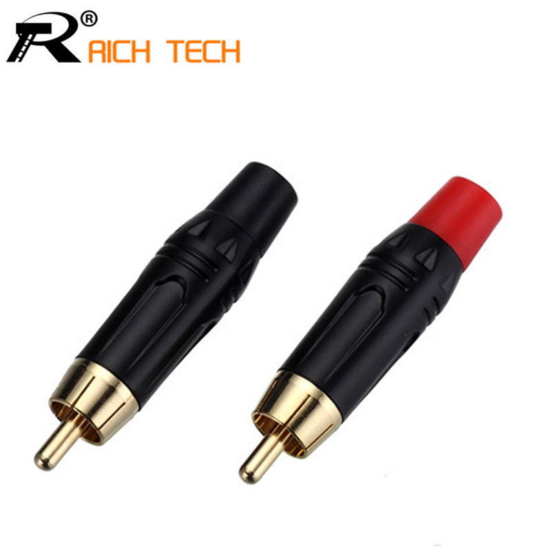 1pair/2pcs RCA Connector High quality RCA male Connector gold plating audio adapter black&red pigtail speaker plug for 7MM Cable areyourshop rca plug jack gold plated audio adapter connector blue 1 4pcs copper carbon fiber high quality rca connector