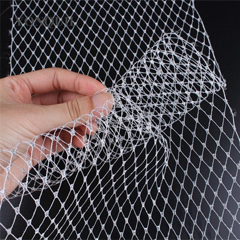 Image 3 - 23CM silver Birdcage veil netting Veiling make in Millinery Hat BlingBling Veil Fabric Women Fascinator hat material decorationveil nettingveil fabricveil birdcage -