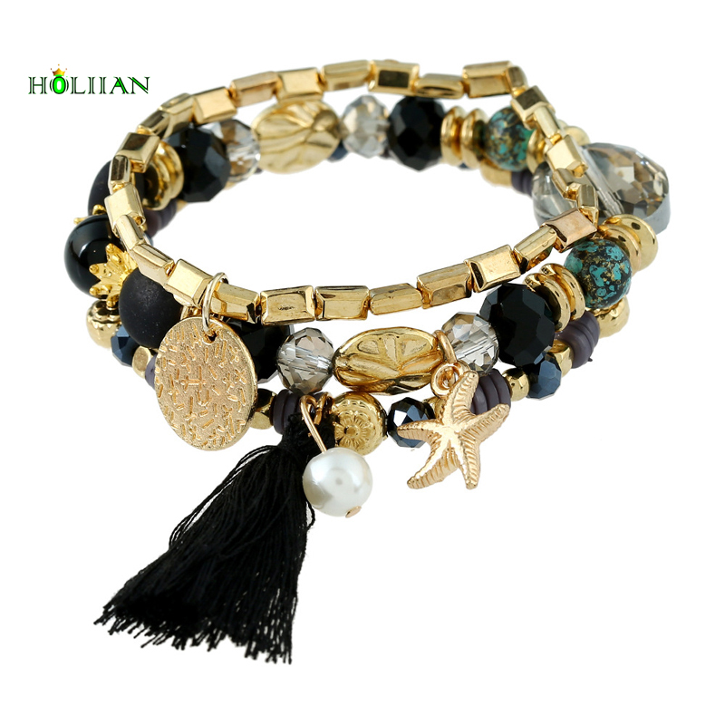 Wome bohemia marine fringe bracelet&bangle set marble beads star pearl tassel charms bracelet gold-color boho jewelry femme top