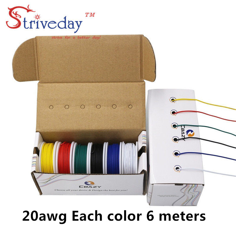 36 m/box( 6 colors mix Stranded Wire Kit) UL 1007 20AWG Electrical Wire Cable line Airline Copper PCB Wire 19.68 feet each color