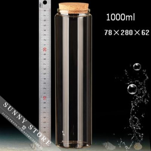 2pcs/lot 78x280mm 1000ml Empty Glass Bottles With Cork Scented Tea Bottles DIY Clear Transparent High Borosilicate Glass Bottles 500 x 10ml 8m 7ml 6ml 5ml empty mini cute glass bottles key chain pendants small wishing cork vial arts jars for bracelets gifts