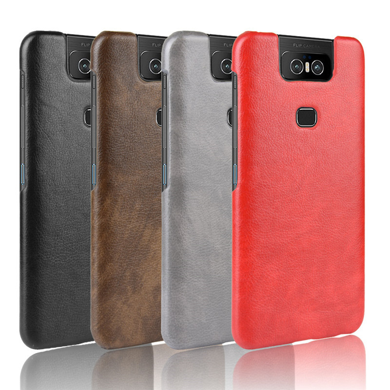 For Asus Zenfone 6 ZS630KL PU Leather Litchi Pattern Skin Hard Cover For Asus Zenfone 6Z ZS630KL ZS 630KL Phone Bag Case