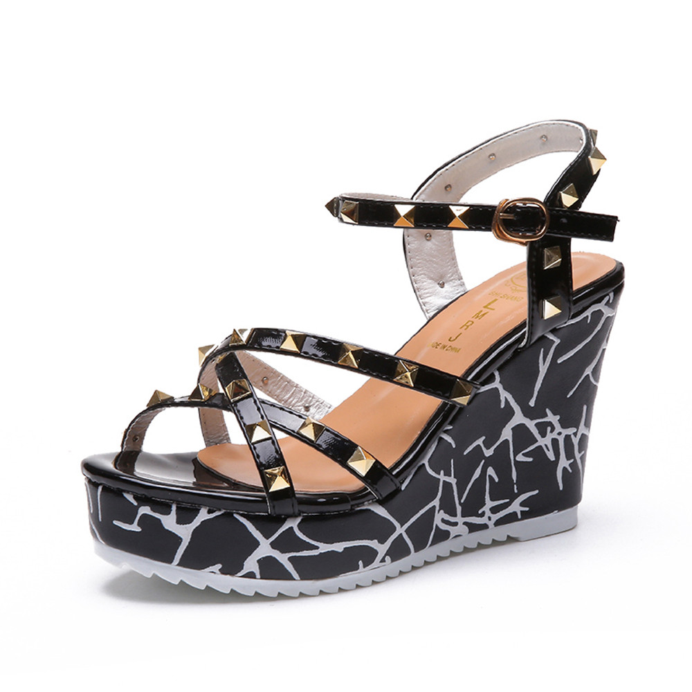 Zapatos Mujer 2018 Shoes Woman Sandals Wedge Summer Lady Fashion High Heels Sandals Elegant Rivets Women Shoes Platform Wedges 47