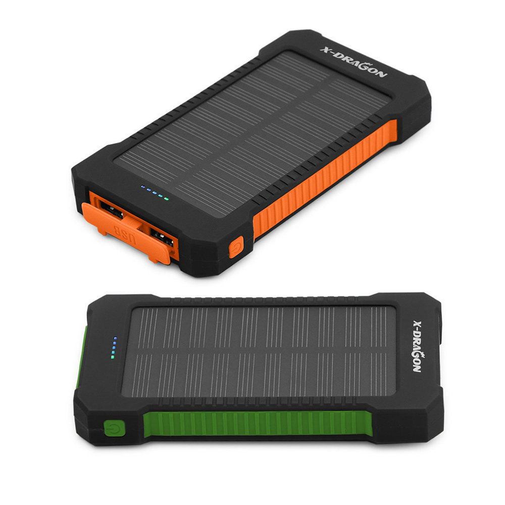 Solar Power Bank 10000mAh Powerbank Orange Green 2 Colors for iPhone 4s 5 SE 6 6S 7 8 iPhone Ten Samsung LG Sony Vivo OnePlus