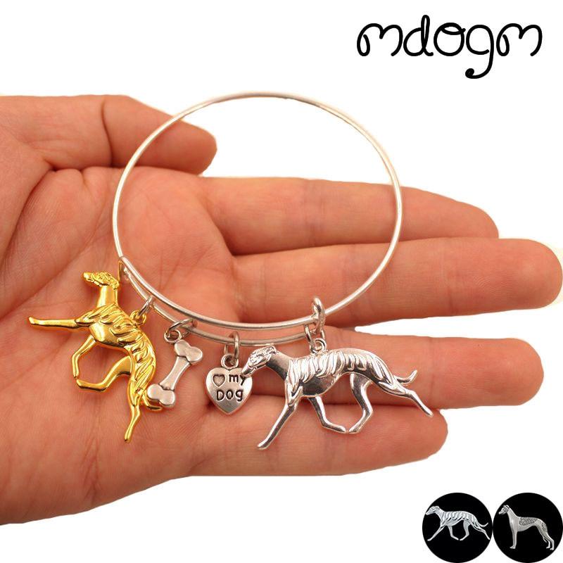 2018 Stainless Steel Animal Bracelet Bangles Whippet Dog Love Alloy Metal Men Women Cute Fashion Male Female Girls S064