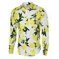 Цветочный Принт Мужчины Хлопковые Рубашки С Длинным Рукавом Случайные Рубашки Мужчин Slim Fit Дизайнер Мужские Цветочные Рубашки Новая Мода Camisa Masculina