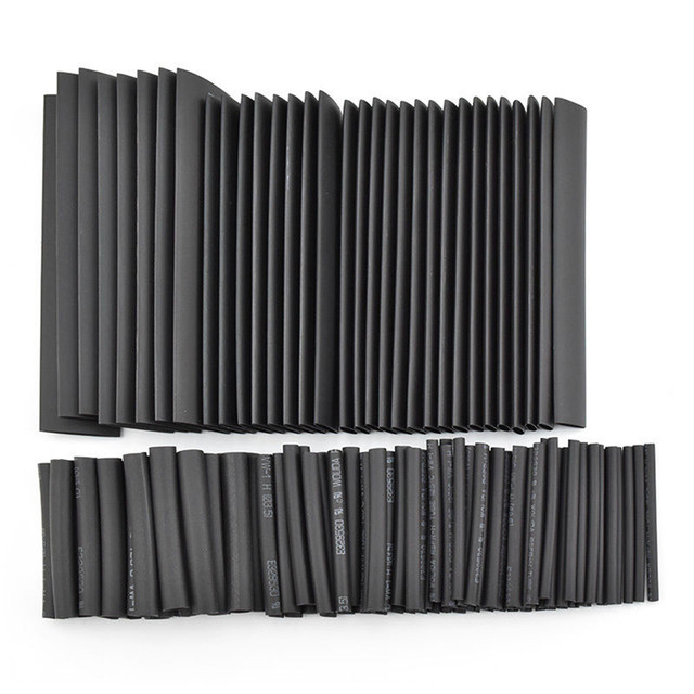 127pcs/lot Heat Shrink Tubing 7.28m 2:1 Black Tube Car Cable Sleeving Assortment Wrap Wire Kit termoretractil Polyolefin Tubing 1