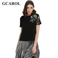 GCAROL 2017 Women Embroidery Floral T Shirt Euro Style Vintage Floral Tees Stretch Casual Basic