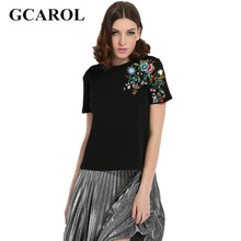 GCAROL 2017 Women Embroidery Floral Tshirt Euro Style Vintage Floral Tees Stretch Casual Basic Tops For Early Spring Summer
