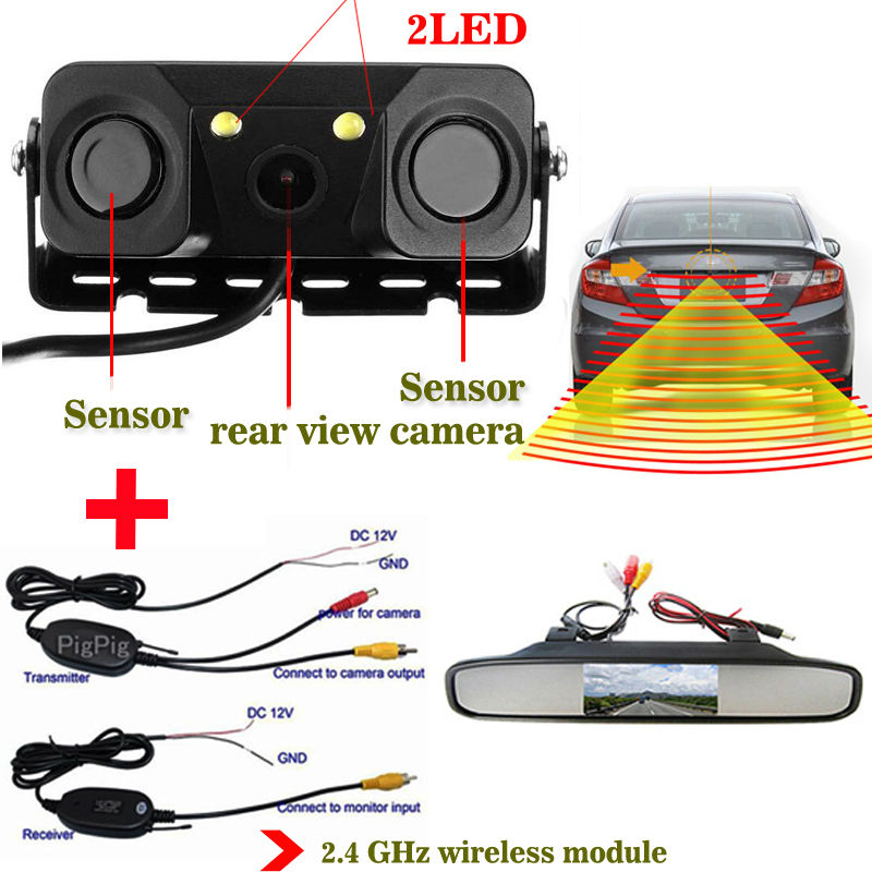 Wireless 3in1 Parking Assistance Sensor Backup Radar With Rear View Camera + 4.3inch LCD Car Foldable / Rearview Mirror Monitor
