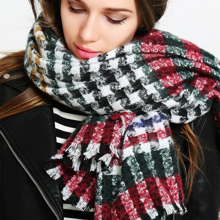 POBING Za Brand Winter Cashmere   Scarf   Striped Plaid Women   Scarves     Wrap   Warm Vintage Poncho Long Pashmina Shawls Blanket   Scarf