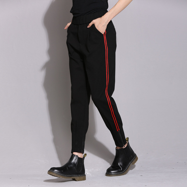 info pour 11bd1 49f9c € 23.84 |Nouveau 2017 Femmes de Ressort De Mode Plus La Taille Harem  Pantalon Taille Élastique bande Rouge couture basant stretch Slim Noir  crayon ...