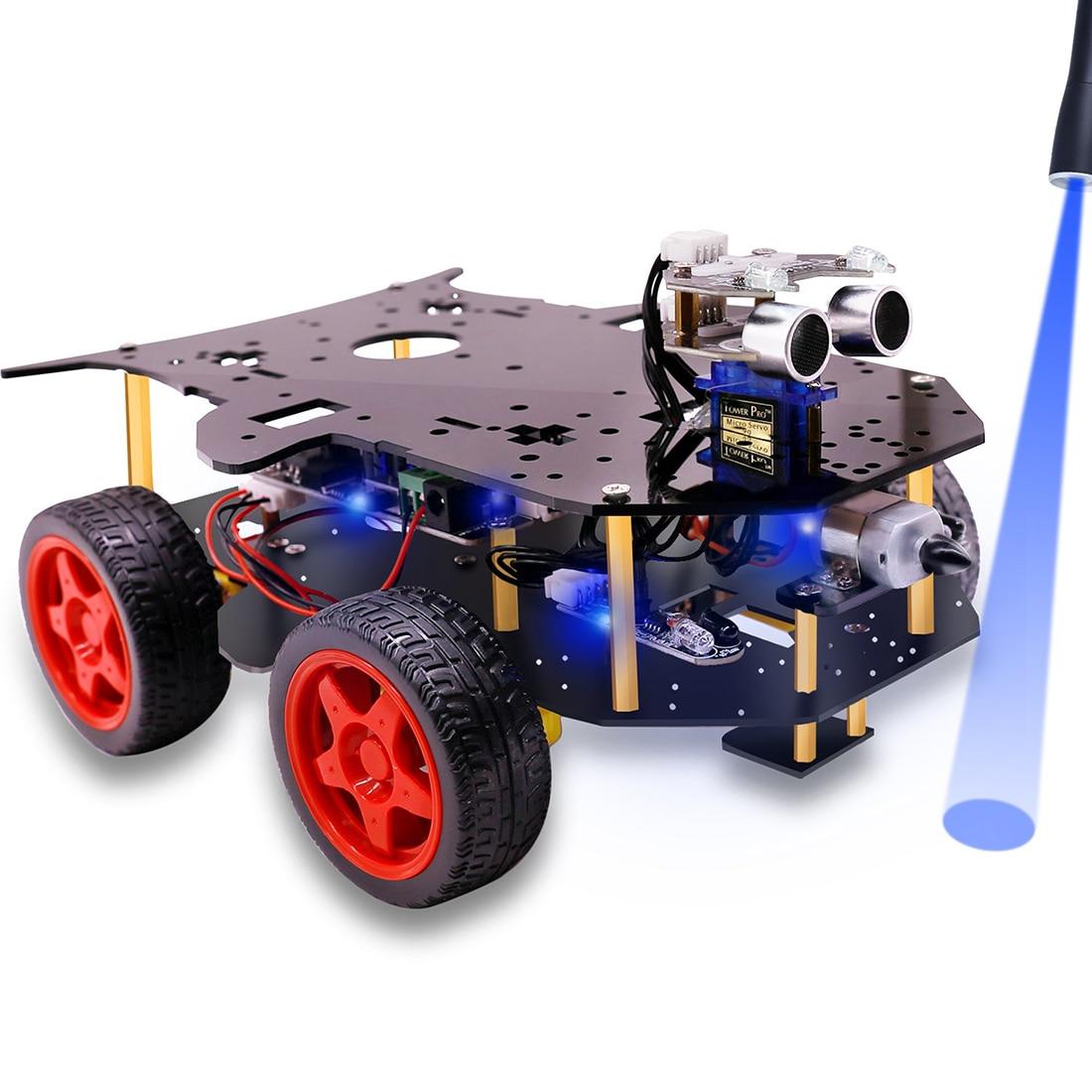 Roboter Auto 4WD Programmierung Stamm Bildung Robot Kit Spielzeug mit Tutorial & Open Source Code für Arduino (Einschließlich UNO r3 Mainboard)