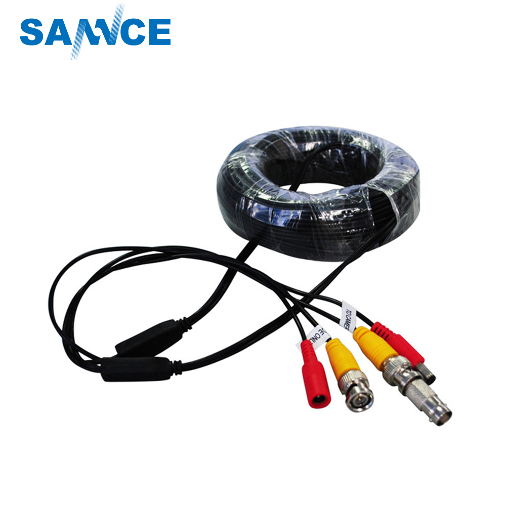 SANNCE BNC Video Power Siamese Cable 65ft 18m 20m for Analog AHD CVI CCTV Surveillance Camera Surveillance DVR Kit free shipping 10pcs hd63b40fp