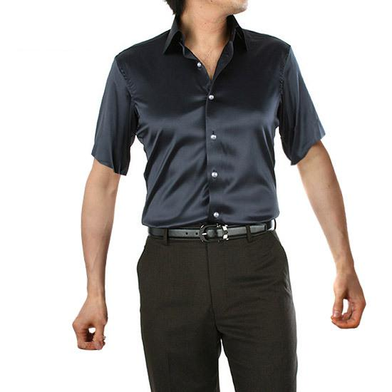Mens Solid Silk Casual Shirts Short Sleeve Rayon Wedding Dress ...