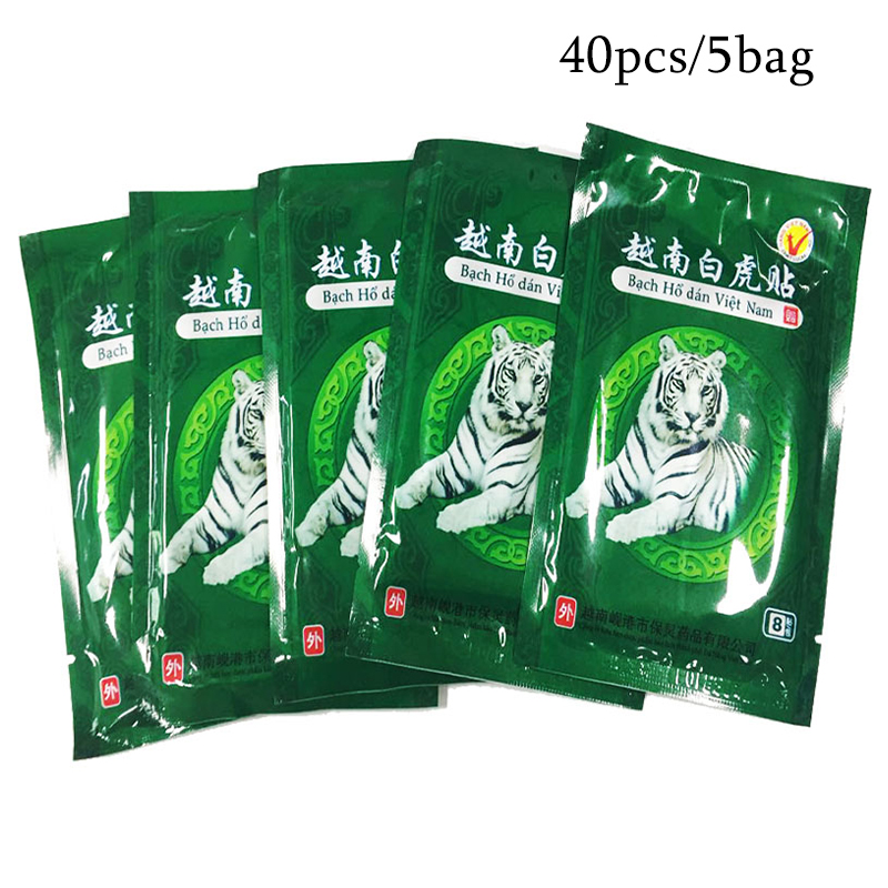40Piece/5Bags Vietnam Creams White Tiger Meridians Patch Rheumatoid Arthritis Lumbar Spondylosis Cervical Balm Plaster