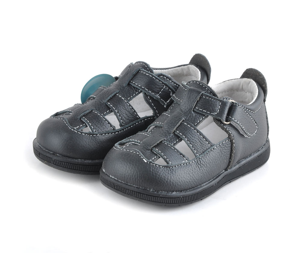 Black sandals baby girl - Baby Sandals Soft Leather Shoes Solid Black Closed Toe Boys Sandals Girls Sandals Red Genuine Leather