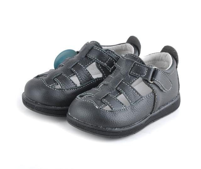 Sandálias do bebê sapatos de couro macio sólidos dedo do pé fechado preto meninos sandálias meninas sandálias de couro genuíno vermelho