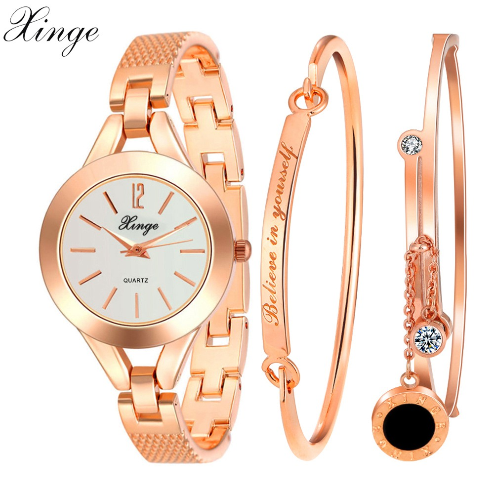Xinge Brand Watches Women Bracelet Believe In Yourself Waterproof Wristwatches Set Watches For Women Luxury Female Quartz Watch xinge fashion brand popular watch women believe in yourself bracelet crystal wristwatch set girls gift clock women 2018 watches