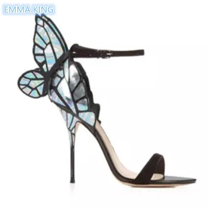 À Stiletto As Sandales Cheville Sangle Chaussures Conception Hauts Dames Boucle Talons Femmes Papillon Partie De D'été Ailes Picture Romaine Sexy zFAOPqW4